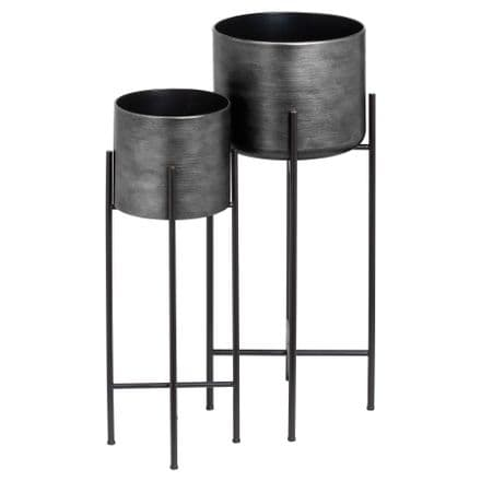 Set Of Two Grey Metallic Planters On Stand